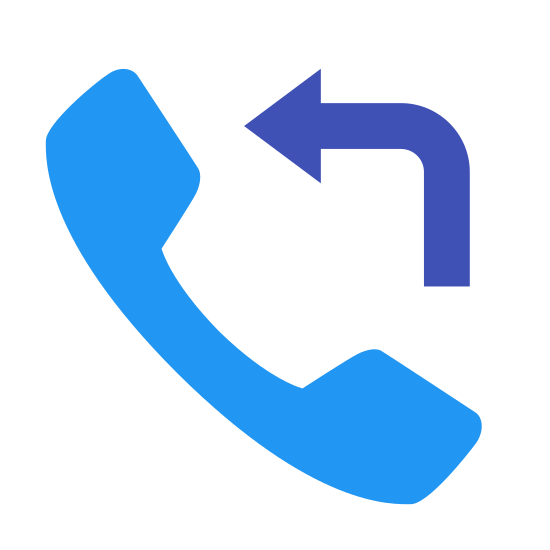 Oddzwonić icon. The icon is a logo for the Callback Feature. The icon is what appears to be the shape of an old phone. The phone is at an angle with the top of it to the top left. There is a curved arrow that starts at the mouthpiece and points to the top.