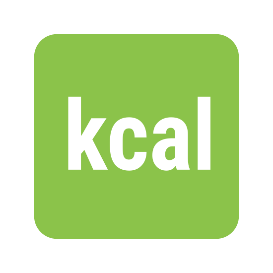 """Energia kaloryczna icon. The logo has the letters """"kcal"""" in a simple font in the middle of a square box with rounded corners. The lettered writing and lines are in black with a white background."""