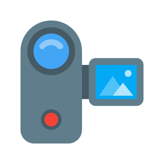 Camcorder icon. A camcorder icon has part where that there lenses that can be look through and recorded. The other part of the camcorder is the attachment on the side that is a rectangular screen, which shows the video that is being captured.