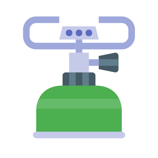 Burner icon. The icon is a depiction of a camping gas burner, normally set atop a propane tank and used to cook food while camping. It consists of two pieces used to hold the cookware, with a simplified gas outlet, connecting to the top of a simplified, truncated propane tank.