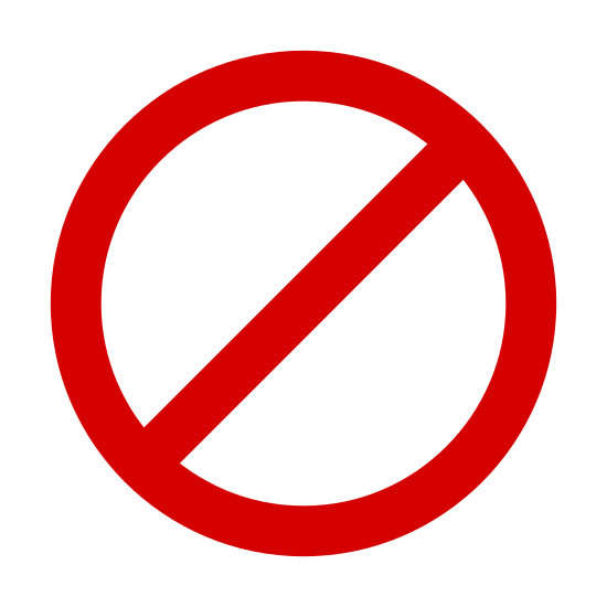 """Unavailable icon. This icon is of a circle with a slash mark running from the upper left hand corner to the lower left hand corner. This is the standard icon for """"cancel"""" or """"end"""""""