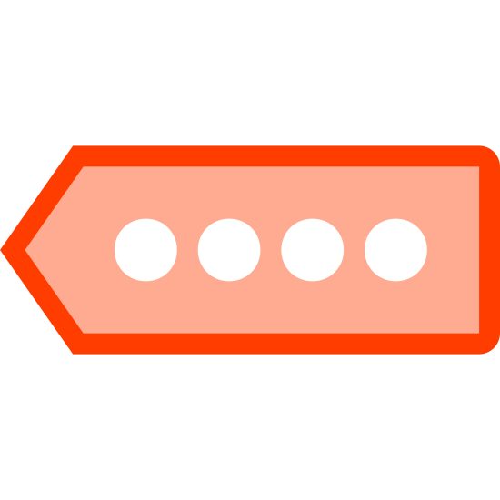 Pin Code icon. This is a picture of a tag with four tiny circles in the center. the circles are lined up horizontally. the tag is pointing to the left hand side. there is no writing on it.