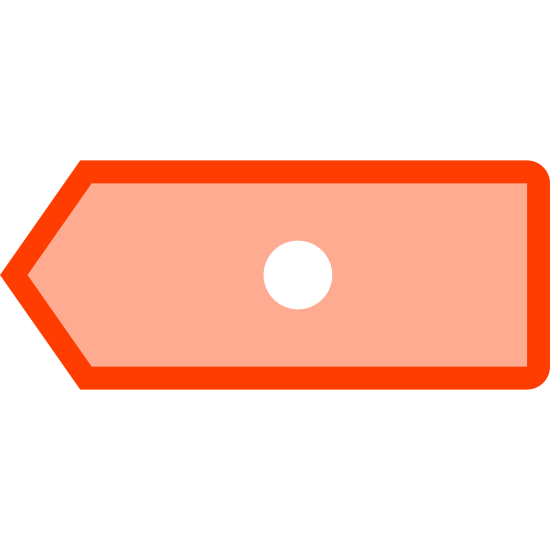 Cancel Last Digit icon. This icon is depicting a cancel last digit button typically found on an ATM. The icon is rectangular shaped with its left side forming a point and the outline of a circle in the middle of the shape.