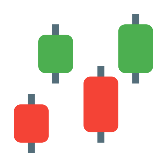 Candlestick Chart icon. The icon shows a vertical rectangle with small tabs sticking out the top and bottom, then slightly higher to the right is another one that looks the same but is dotted. A little lower to the right is a duplicate of the dotted shape. At to the top right of that one is another duplicate of the dotted shape.