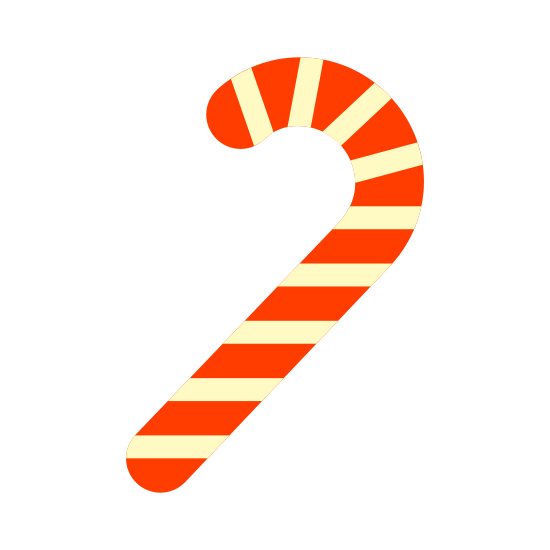 Laska cukrowa icon. A candy cane, the universal sign for christmas. This one is in black and white, and has been opened, judging by the lack of wrapping paper. However, it hasn't been licked yet, as none of the lines have faded.