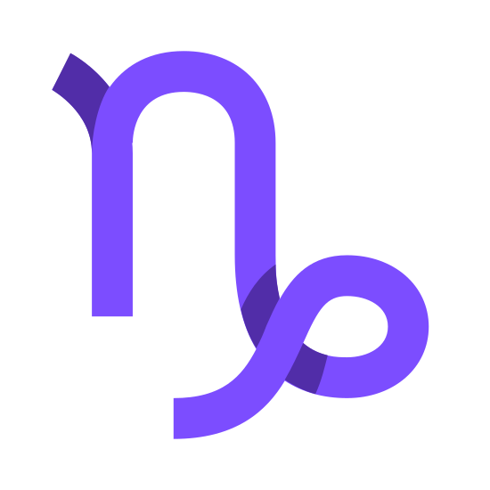Capricorn icon. This object looks like just doodling at first, but then you see it is a lower case 'N' but the ending of it turns into a loop-de-loo with a curved ending.