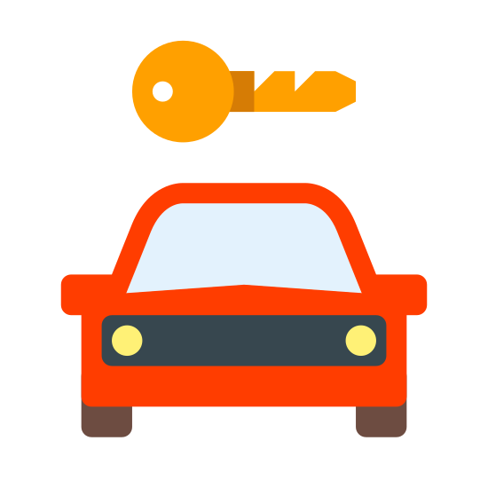 Wypożyczalnia samochodów icon. The image is of a car. The front part of the car is shown. Directly above the car is a key. The length of the key is almost the width of the car. The two items are not touching each other.