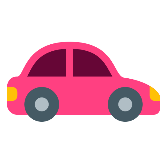 Car icon. The icon shows a sedan type passenger car that is seen from head on from the exterior. The car has a large rounded windshield, two headlights, and two side window mirrors.