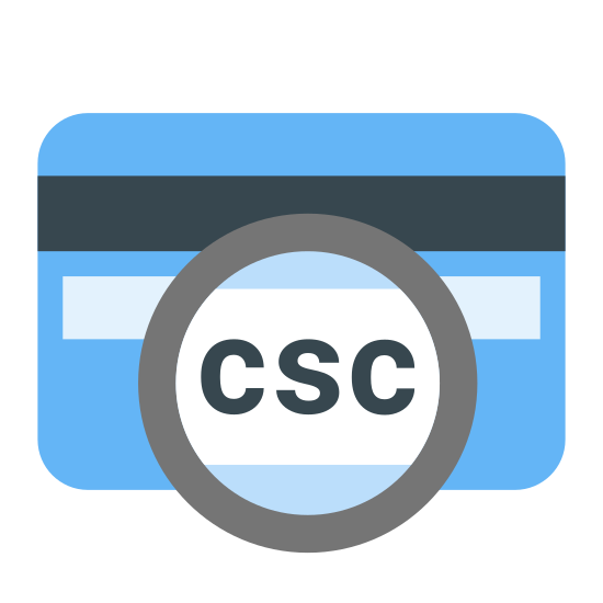 Card Security Code icon. This icon is showing a blank card with part of it enlarged to show detail. The card is a rectangle with curved edges, and inside the rectangle is a thick, black bar extending horizontally from one end to the other. Circled and enlarged to show detail are the letters CSC which stands for Card Security Code.