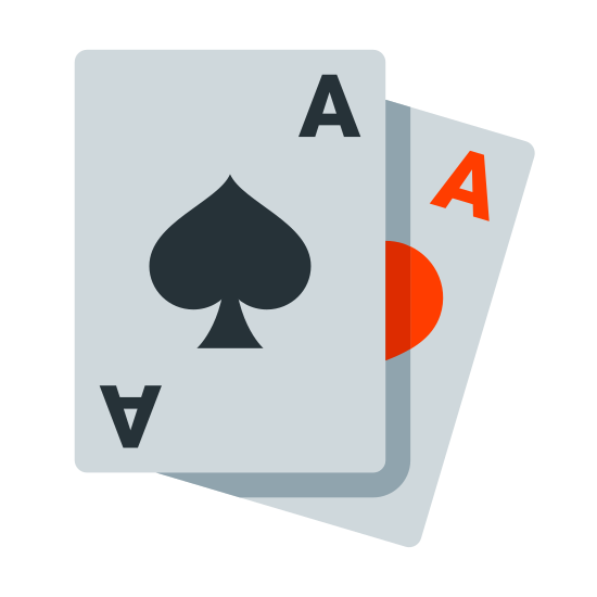 Cards icon. This icon depicts two playing cards, one on top of the other, with the one underneath at a slight angle. Both cards are aces, and the one on top's suit is spades. The bottom card's suit is not visible because the top card is covering it.