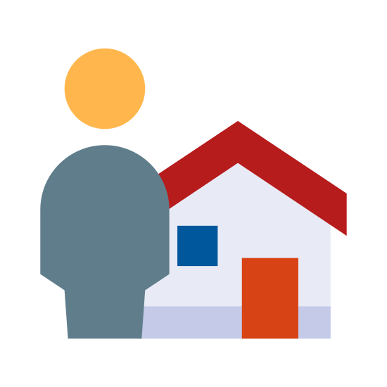 Caretaker icon. This is a drawing that has a person on the left side and a small house on the right side. The house has a roof on the top and a door right in the middle.