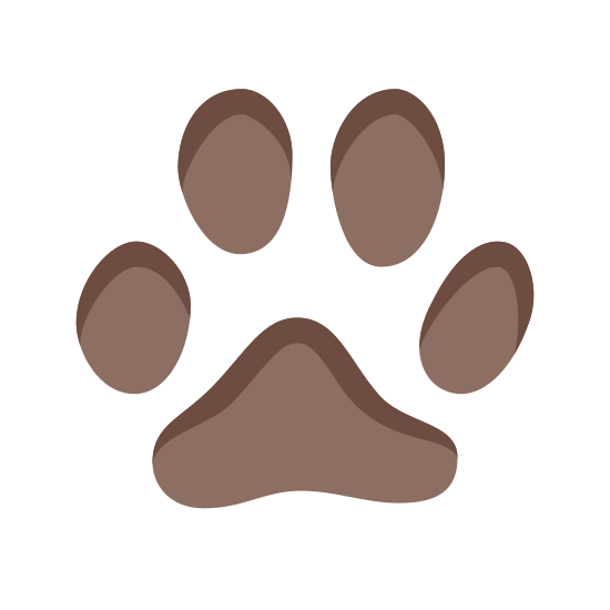 Cat Footprint icon. This is a small cat footprint. It is very simple, with a rounded triangular pad and four oval toes. The two toes above the pad of the paw are right next to each other, with the other two toes on each side and below the top toes.