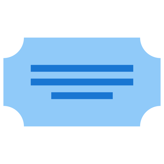 Categoria icon. This icon is depicting a title or note card. The object is rectangular is shape with four indentations on each corner of the shape. In the center of the rectangle are two straight horizontal lines.