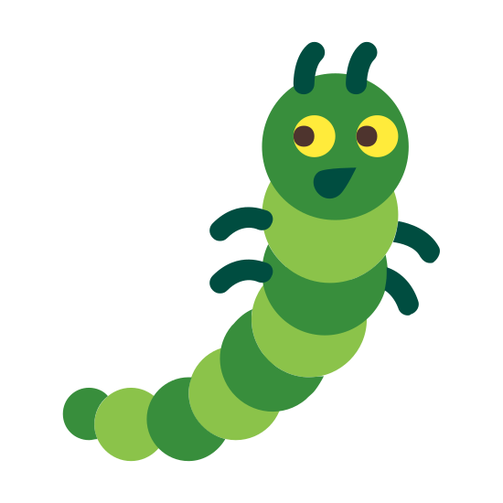 Oruga icon. The icon is a picture of a bug. The icon is shaped curved, but narrow, with two eyes on its 'head'. The icon is a caterpillar.