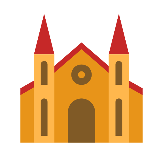 Cathedral icon. The image depicts a triangular shaped cathedral-like structure with two turrets on each side of the cathedral. Each side of the building is perfectly symmetrical and an archway rests in the center of the structure.