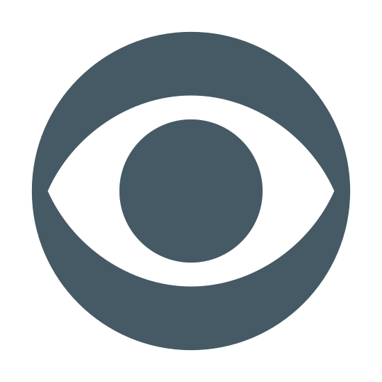 Logo CBS icon. This is a picture of the CBS logo, with a circle that has an eye at it's center. the eye is wide open and you can see the pupil. the eye is slanted on it's left and right side