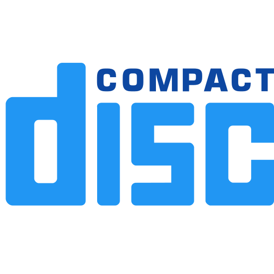 """Compact Disc  icon. It's the normal """"compact disc"""" logo. That is the word """"disc"""" written bigger in outlined letters in sort of a blocky font and all in lowercase letters and then sitting on that word to the upper right is the word """"compact"""" written in all uppercase letters much smaller and in a normal font."""