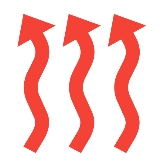 Centralne ogrzewanie icon. The icon shows three identical arrows side by side to each that are standing vertical. The arrows squiggle and curve their entire length. The points of each of the arrows are all facing up but are slightly slanted to the left.