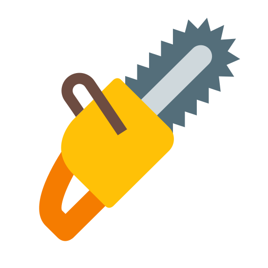 Chainsaw icon. It is a simple chainsaw. There is a circular handle on the bottom end for grip. On the top is the front handle, for control of the chainsaw, and what looks like the pull chain on the side. There are sharp edges of the cutting part of the chainsaw, on the top.
