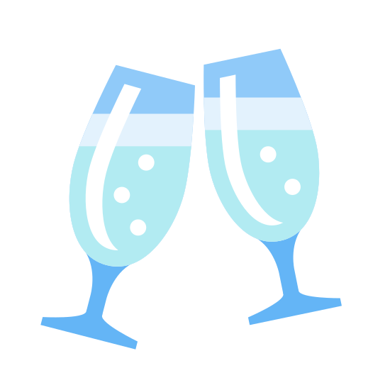 """Szampan icon. There are two wine glasses that appear to be half full and there is a line coming out of the top to depict clinking of the glasses as when people """"cheers"""" or """"salud"""" each other."""