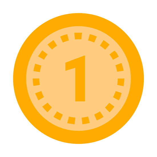 Tani icon. The icon shows a circle that could represent a coin with the number one in large print. The coin seems to represent a small denomination of currency or a low amount.