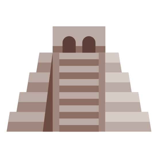 Chichen Itza icon. This is a picture of 5 rectangles stacked on top of each other, going from smallest at the top to biggest at the bottom. Down the middle is a ladder-like structure. There is a half an 8 on its side on the top rectangle.