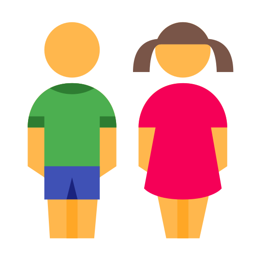 Children icon. There is a simplified drawing of two people holding hands. The one on the right is presumably male and the one on the right appears female based on the clothing. The female is wearing a dress and pigtails, the male looks to be wearing shorts.