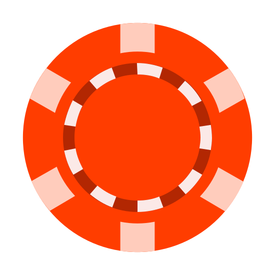 Chip icon. The logo is a simple black and white line drawling. The logo is a depiction of a round circular poker chip with six small strips and a dollar sign in the center circle. .