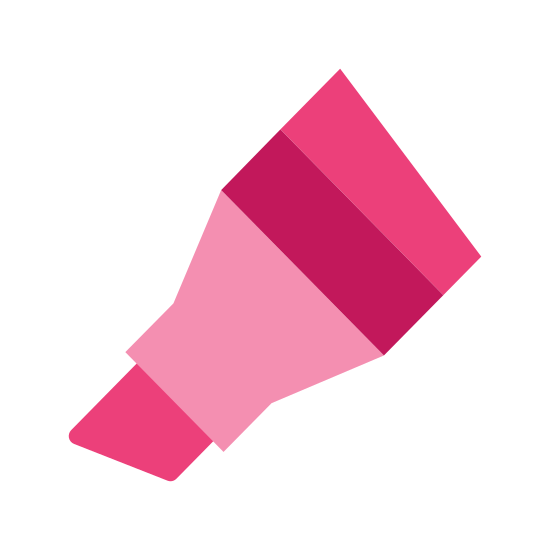 Маркер icon. It's a logo for a chisel tipped marker that shows only part of the marker. The chisel is present as well as the base of the marker. There are two lines at the base of the marker that make a stripe.