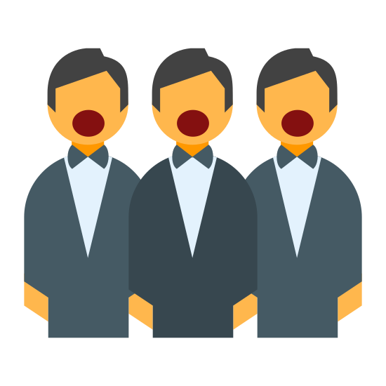 Choir icon. A choir icon will have a picture of a person with his or her mouth open. A choir consists of many people singing together, but the other feature of the icon is that the choir will also have a book in front of them with the lyrics in it.