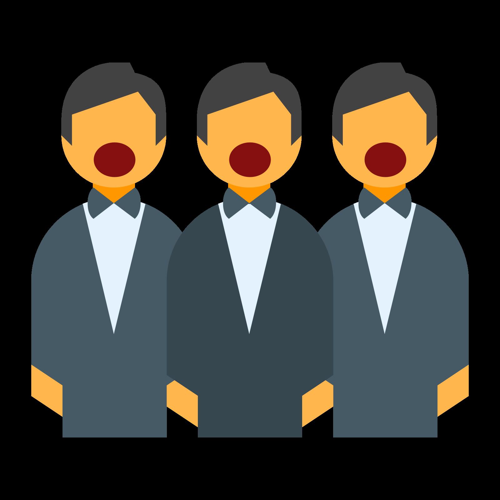 合唱団 icon. A choir icon will have a picture of a person with his or her mouth open. A choir consists of many people singing together, but the other feature of the icon is that the choir will also have a book in front of them with the lyrics in it.