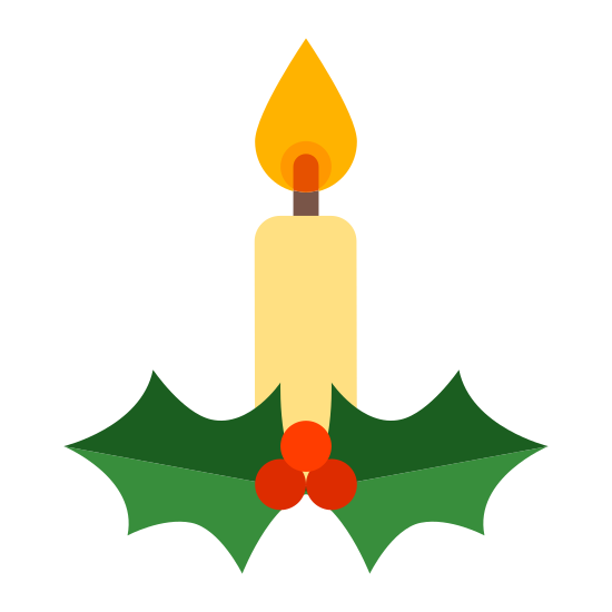 Candle icon. The icon is of a Christmas candle sitting in a small candle holder. It is white with black outlines. The candle is melting and has a very large flame, which is white with a black center.
