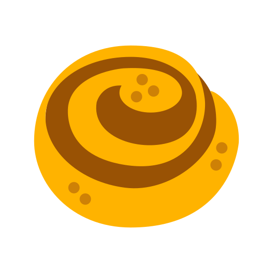 Bułka z cynamonem icon. A drawing that looks similar to a snail shell. Its outline is a circle and there's a single spiral that ends in the center of the circle. There are also three pairs of dots inside the spiral, two near the top, and two near the bottom, and then another single dot sitting near the very bottom of the circle.