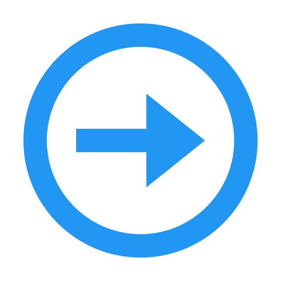 "Forward Button icon. This icon for ""circled right 2"" is a large circle. Inside of the circle at its center there is an arrow which points to the right. The arrow consists of a straight line. At the rightmost end point of the line there are two new lines, one extending up and back to the left, and the other down and to the the left."