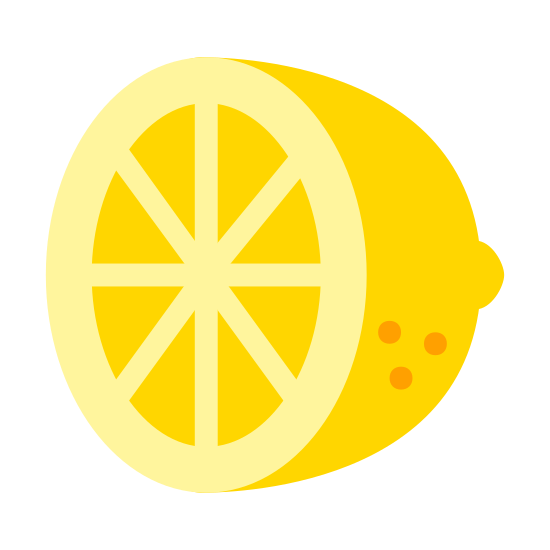 Citrus icon. This image is made to look like a lemon or other citrus fruit cut in half between the 2 ends. It is the right half. It shows 6 segments inside the peel.