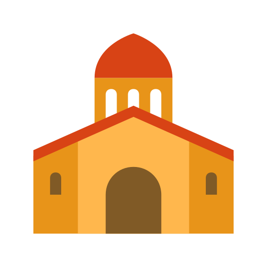 Ratusz icon. This logo features a government building. It has a basic structure, a domed top with pillars emitting from the base, leading into the main section of the building. The main section has an arched doorway.