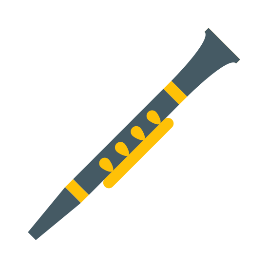 Clarinet icon. This logo represents a clarinet and has an image of a clarinet. The clarinet is pointing to the right with the spout on the left and the mouthpiece on the right. There are circles showing the keys and a small parallel line on top of them.