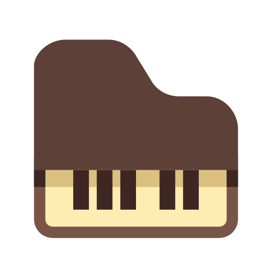 Classic Music icon. It is an aerial view looking down onto a piano. The row of keys are at the bottom, and the case is above it in a boot shape.