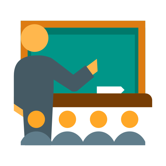 Classroom icon. This icon represents a classroom and shows a teacher with its students. There is a chalkboard with an eraser and four students. The teacher is writing something on the board.