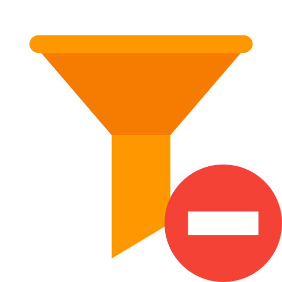 Clear Filters icon. The icon is shaped like an upside down triangle missing the point but the corners are not pointed they are flat.  Where the tip of the triangle should be is a blade like shape. To the bottom right of that is an X.