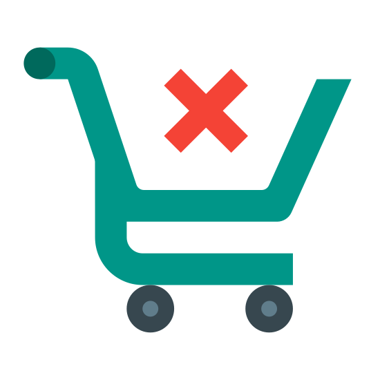 Wyczyść koszyk na zakupy icon. An empty shopping cart viewed from the side. We can't see anything in the basket or underneath, and there's a large X on the side to inform us that it is indeed empty.