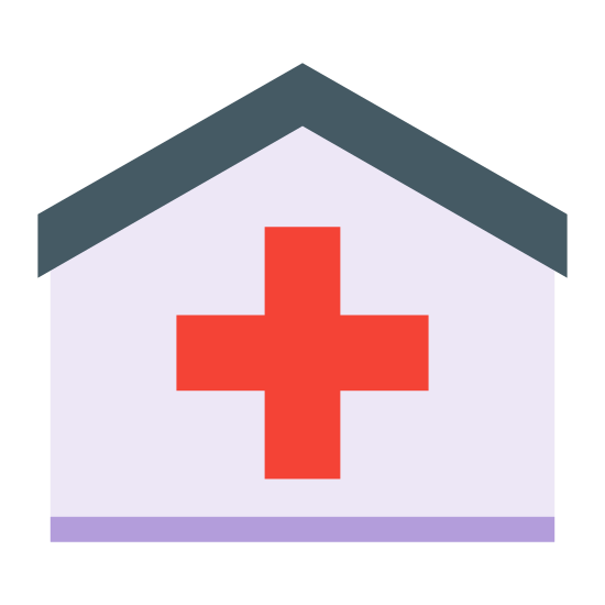 Clinic icon. It is a logo of a clinic. There is a standard house shown with no doors or windows, just an outline of a house. Inside the house, a small solid plus sign is placed.