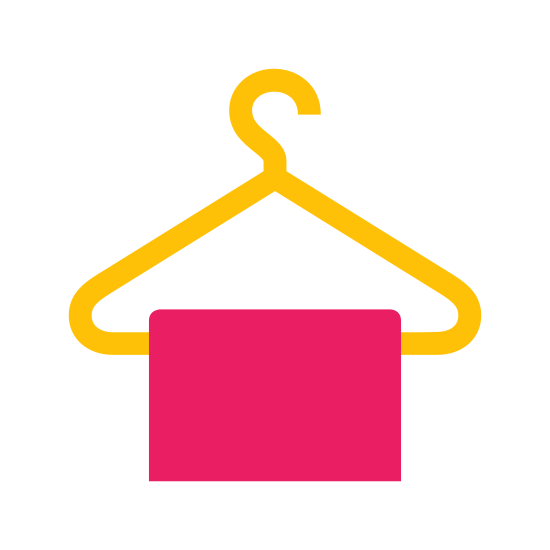 Cloakroom icon. This logo is of a clothes hanger, the hooked part facing to the right. Draped on the bottom of the hanger is a rectangular shape, with rounded edges. The ends of the hanger don't quite meet at the rectangle.