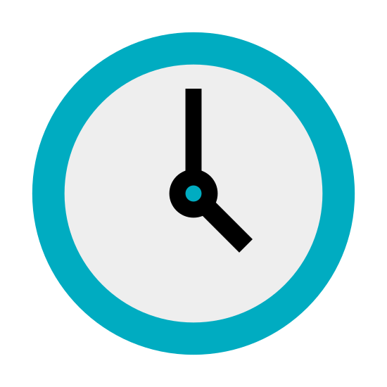 Clock icon. This is a very simple representation of a wall clock. It's made up of a circle with a black dot in the center. The hands are composed of two lines of different shapes. The long hand points up noon and the small hand points at eight.