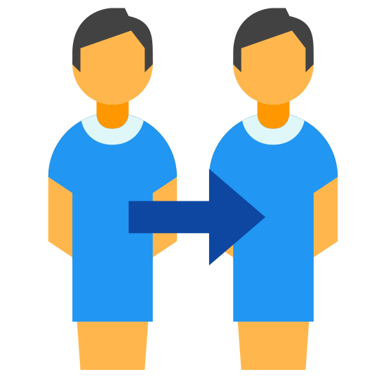 Clone icon. A drawing of two people side by side with a small space between them. There is an arrow connecting the two at the torsos pointing from left to right. The people are simply shaped, like bathroom figures, with just a circle for a head, a basic body outline, and one thick leg.