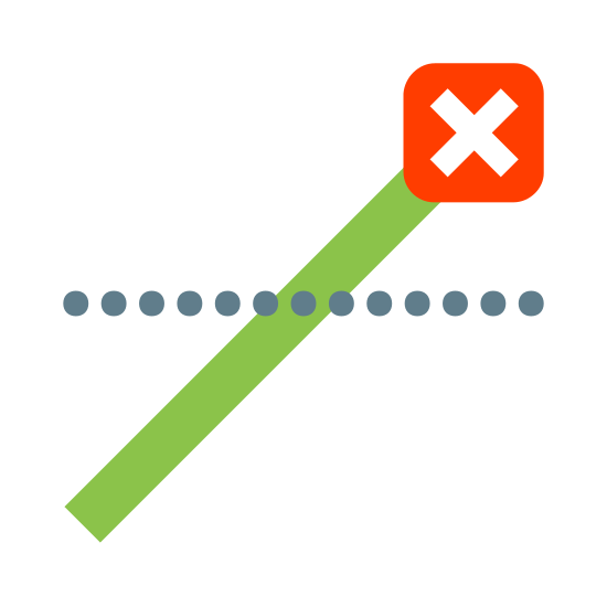 Close Position icon. The Close Position icon is a small X with a square surrounding it. There is a black line jutting out from the lower left corner of the square. This line is crossing a horizontal dotted line where the horizon would be.