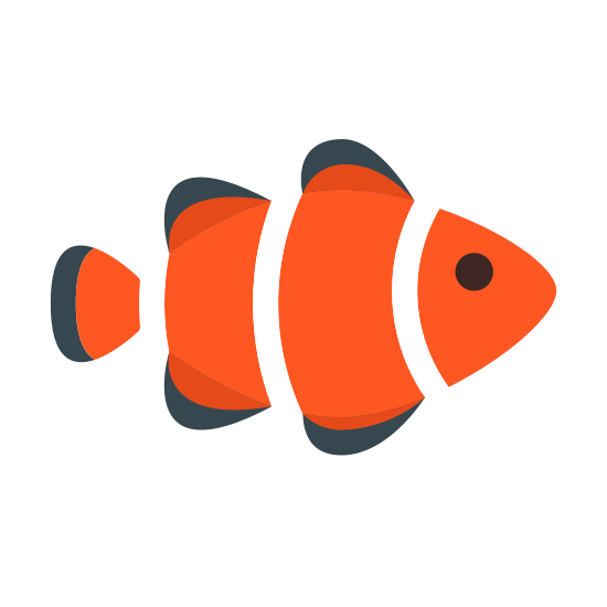 Clown Fish icon. It's a logo representing a clown fish with the fish facing to the right. The fish has for fins and a tail fin. There is one eye visible and two sets of curved parallel lines like a clown fish would usually have.