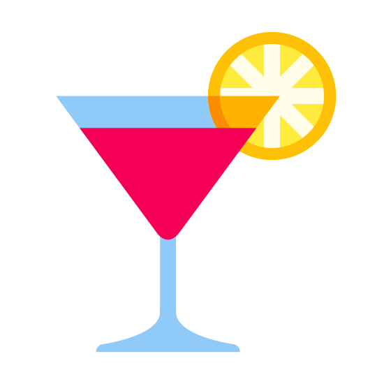Cocktail icon. This is an icon for a cocktail. The part where you pour the drink it is an upside down triangle with a circle attached to its left side. There is a straight line which attaches to a flattened triangle on the bottom