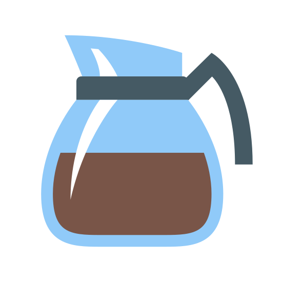 Coffee Pot icon. It looks like a simple glass carafe. Its pour spout is facing to the left. It has a band around the top of the funnel shape, to which  a semicircle is attached on the right, to look like a handle. A line across the body of the funnel makes it look like coffee is in the pot.