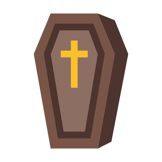 Coffin icon. There is an outline of a traditional coffin shape, with six sides, with sides longer at the bottom and shorter at top. To the right of the top outline is the outline of four of the sides, making it 3-dimensional. In the center of the coffin is the shape of a cross.